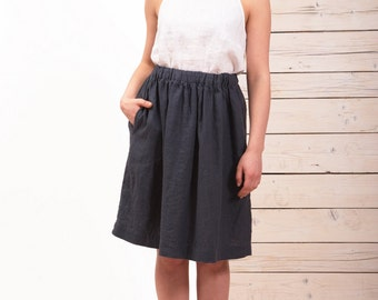 Linen skirt dark gray - Washed linen skirt - Midi linen skirt - High waist linen skirt - handmade linen skirt - natural flax linen skirt
