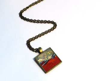 One of a Kind Art Necklace , FREE Shipping, Abstract Landscape, Red, Acrylic Painting, Original Art, Pendant,  Red Necklace, Handpainted