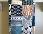 Baby Quilt Boy - Adventure - Mountains, Deer Quilt,  Rustic Quilt, Antlers, Crib Bedding, Tribal Quilt, Gray, Teal, Navy, White, Mustard