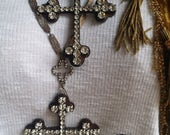 The Vintage Junkie...Over sized, Repurposed Rhinestone Cross Layering Necklace