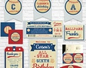 Vintage Baseball Invitation and Decorations - Baseball Ticket Invitation and Prinable Party Kit - Download Now & Personalize in Adobe Reader