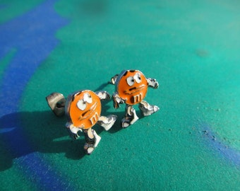 Vintage Small Post Stud Earrings M&M's small tiny earrings for Pierced ears orange candy