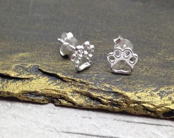 Sterling Silver Paw Print Earrings, silver studs, animal earrings, dog earring, gift for her