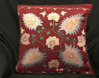 Handmade Suzani Silk Pillowcase Suzani Pillow, Uzbek Suzani, Decorative pillows