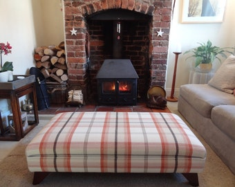 Handmade Upholstered Footstool - In Porter And Stone Balmoral Tartan Fabric
