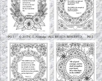 Inspirational Flower Gardens and Psalms - FULL SET of 4 - Adult Coloring Pages