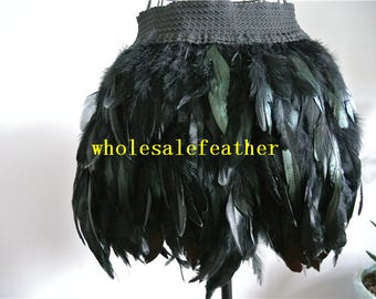 Black hip length rooster straight feather skirt for dancewear supply party dress
