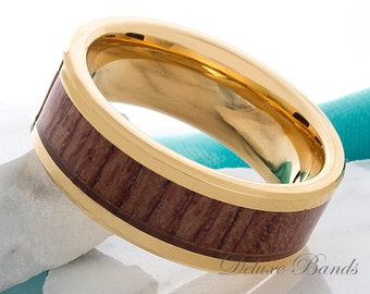 Tungsten Ring Wood Yellow Gold Tungsten Wedding Band Hawaiian Koa Wood Anniversary Ring 8mm Comfort Fit Promise Ring Mens Womens Wood Ring