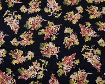BTY TOSSED GRAPES on Black Print 100% Cotton Quilt Crafting Timeless Treasures Fabric by the Yard