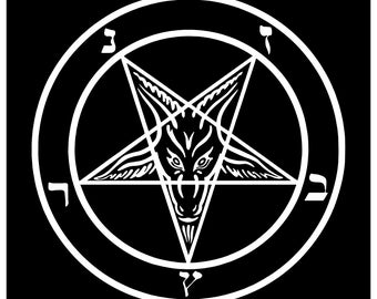 New Black Sticker Decal Goat of Mendes Pentagram Satan Satanic Baphomet Metal 666 Devil
