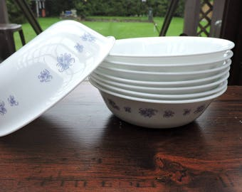 Set of 8 Corning Corelle  BLUE Flowers Cereal or Soup Bowls