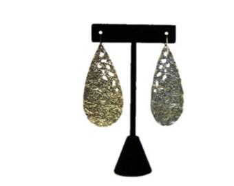 Vintage Teardrop Gold Earring / Unique Retro Metal Jewelry / Excellent Condition