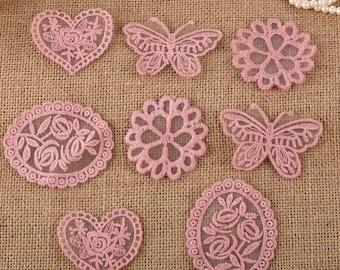 CraftbuddyUS 8 x Vintage Mixed Pink Lace Motifs Patches Sewing Sew on Stick on Crochet