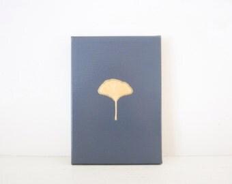 GINKGO LEAF - Grey and Gold Leaf PAINTING - Grey Painting - Grey and Gold Room Decor - Gold Ginkgo Leaf - Ginkgo Leaf Art - Gold Leaf Gingko