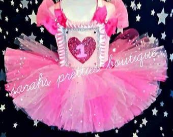 1 yrs baby pink heart tutu dress