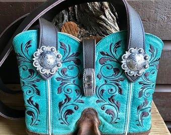 COWBOY BOOT PURSE ~ Handbag ~ Shoulder Bag ~ Handmade ~ Repurposed Boot Top ~ Fine Leather ~ Custom Made ~ The U.S. Patented Original!