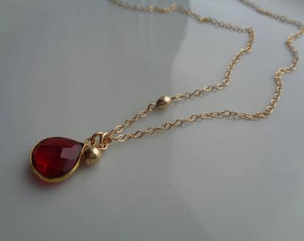 Gold chain, 585 goldfilled with hydro Garnet, double pendant