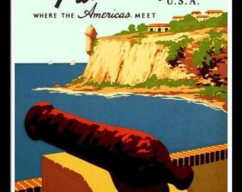 Puerto Rico Retro poster 1930s Custom Framed A+ Quality