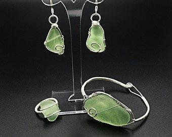 Sea glass jewelry, beach glass jewelry, sea glass bracelet, sea glass earrings, sea glass ring, green beach glass, wire wrap bracelet, boho