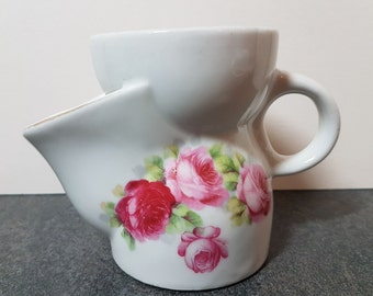Vintage Shaving Mug / Ceramic Shaving Scuttle ~ White Decorated With Pink Roses ~ Marked 'Foreign'