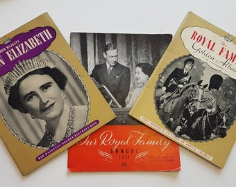 Three Vintage Paperback Books About The British Royal Family ~ Queen Elizabeth The Queen Mother ~ Royal Family Annual 1951 & Golden Album