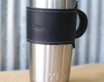 Personalized Groomsmen Gift- Rocket City for Yeti 20oz Rambler Tumbler Personalized Leather Drink Cooler Wrap w/ Handle in Black - Wedding