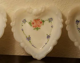 3 Small Opalescent Glass Heart Plates, Hand Painted With Roses & Violets