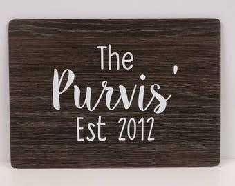 Surname with Est date wood effect plaque (Design 1)