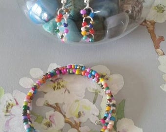 Colourful seed bead bracelet and matching earrings, gift idea