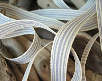 2 Yards - Grey and Cream Grosgrain Ticking Ribbon