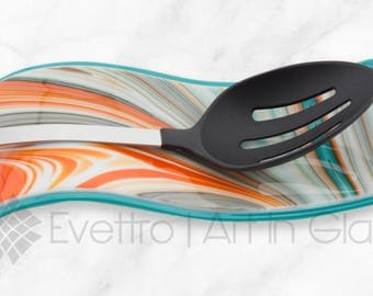 Aqua & Swirled Orange Spoon Rest