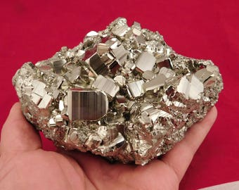 A HUGE! Stepped Pyrite Crystal CUBE Cluster From the Huanzala Mine Peru 1670gr
