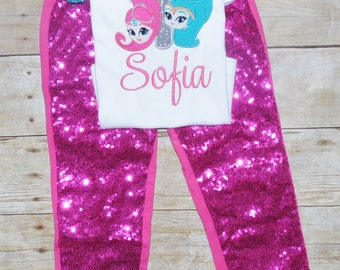 Shimmer and shine birthday outfit, Shimmer and shine birthday shirt, genie tutu, genie dress, shimmer and shine birthday invitation, hotpink
