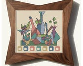 CUBIST SALAD - Modern Counted Cross Stitch Pattern - pdf instant download