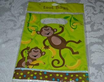 12 Monkey Party Favor Bag/Monkey Bag/Monkey Favor Bag/Monkey/Monkey Birthday Bag/Monkey Loot Bag