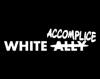 White Accomplice Screen Print T-shirt in Mens or Womens Sizes S-3XL
