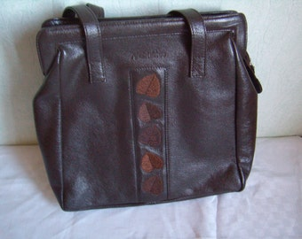 Handbag, bag, Tote, large handles, brown leather, Vintage french