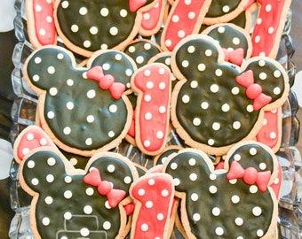 Minnie Mouse Sugar Cookies, 1 Dozen, Number Sugar Cookies, Mickey Mouse Clubhouse, Birthday Cookies, First Birthday, Kid, Party, Favors