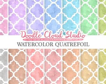 Watercolor Quatrefoil digital paper, Quatrefoil patterns, pastel watercolor background, Instant Download, for Personal & Commercial Use