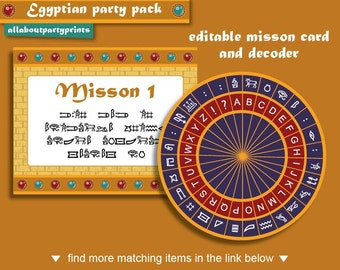 Instant Download- Egyptian birthday party theme- Mission Card & Decoder only