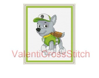 Rocky Paw Patroll Cross Stitch Pattern, cartoon, cartoons cross stitch patterns, cartoon characters ,sp 265