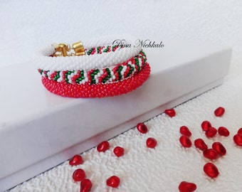 3 Strand Bead Crochet Rope Bracelet White Green Red Beadwork Bracelet Beaded Jewelry Beaded Bracelet Modern Bracelet Bright Geometrics