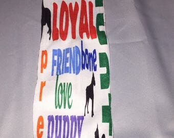 Dog word art sock