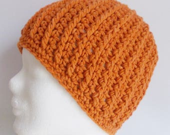 ribbed beanie, hat, wooly hat, orange, crochet, cotton mix