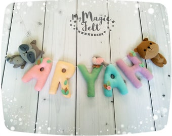 Felt name banner Animals nursery name bunting Woodland nursery Personalized name banner Forest nursery name garland Personalized baby gift