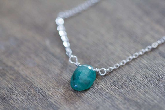 small emerald pendant on gold filled or sterling silver chain