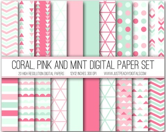 coral, pink and mint modern digital scrapbook paper with geometric patterns