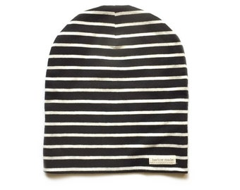 Baby Slouchy Beanie - Child Slouchy Beanie - Thin Black and White Stripes