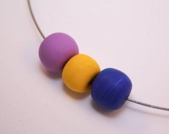 OOAK polymer clay beaded Choker, dark blue, yellow, pink