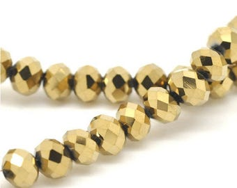 100 rings Gold 6mm faceted beads